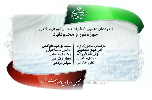 لیست اسامی داوطلبین کاندیدهای نور و محمود آباد